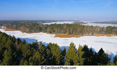 Senftenberg Lake in winter Observation tower, Lusatian Lake...