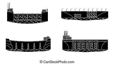Set of hydro power plant silhouette. - Set of hydro power...