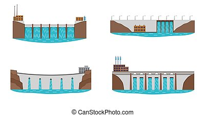 Set of hydro power plant. - Set of hydro power station....