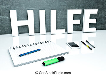 Hilfe - german word for help - text concept with chalkboard,...