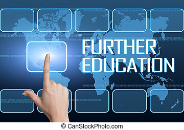 Further Education concept with interface and world map on...