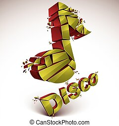 Green 3d vector musical note created from refractions isolated on white. Three-dimensional transform music theme design element. Disco music theme