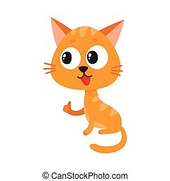 Cute and funny red cat character sitting and showing thumb up