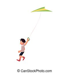 Pretty teenage girl running with colorful kite flying in the...