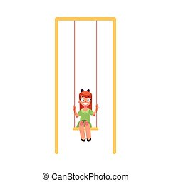 Teenage Caucasian girl in green dress sitting on a swing at the playground