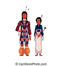 Native American Indian couple in traditional national clothes, fringed shirts