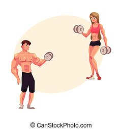 Man and woman bodybuilders, weightlifters working out,...