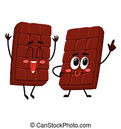 Two funny chocolate bar characters, one jumping excitedly
