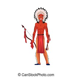 Native American Indian man in feather headdress, breechcloth, leather leggings