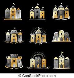 Ancient Citadels emblems set. Heraldic vector design...