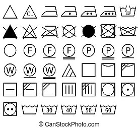 A laundry symbol, also called a care symbol, is a pictogram which represents a method of washing. Vector Format