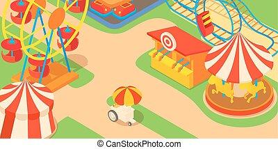 Amusement park concept, cartoon style - Amusement park...