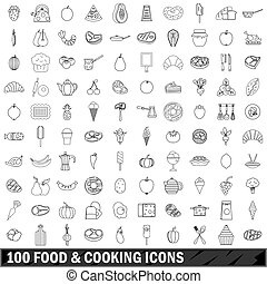 100 food and cooking icons set, outline style - 100 food and...