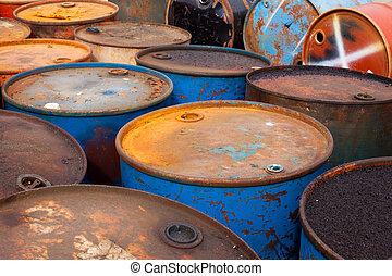 Oil barrels - Rows of rusty barrels