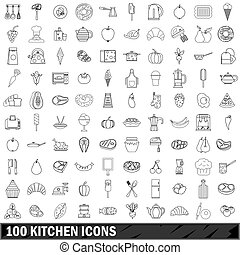 100 kitchen icons set, outline style - 100 kitchen icons set...