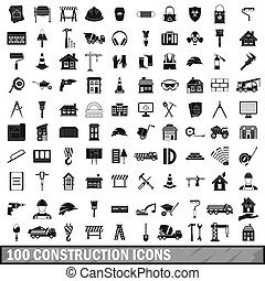 100 construction icons set in simple style for any design...