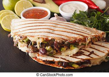 queso, mexicano, Quesadillas, aguacate, carne de vaca,...