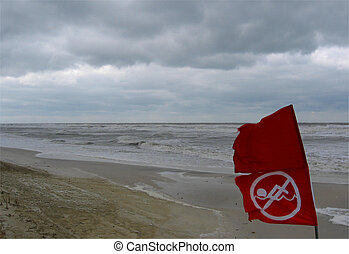No swimming at Gulf Coast Beach - Red flags on a Gulf Coast...