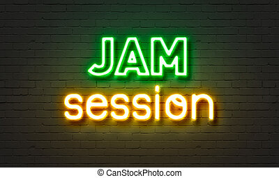 Jam session neon sign on brick wall background. - Jam...