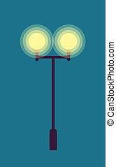 Isolated Street Lamp. Evening. Bright Illumination -...