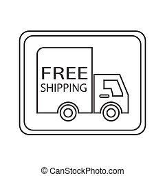 free shipping truck square - simple thin line free shipping...