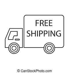 free shipping truck left - simple thin line free shipping...