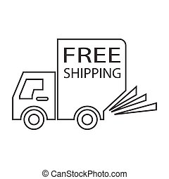 free shipping truck small - simple thin line free shipping...
