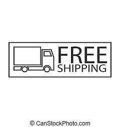 free shipping truck symbol - simple thin line free shipping...