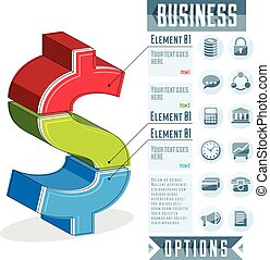 Creative infographics conceptual composition, layered dollar sign idea, vector layout illustration.