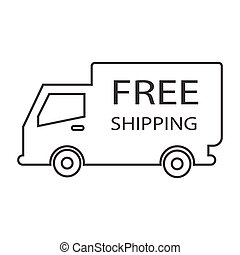 free shipping truck box - simple thin line free shipping...