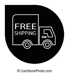 free shipping truck round - simple flat black free shipping...