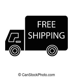 free shipping truck left - simple flat black free shipping...
