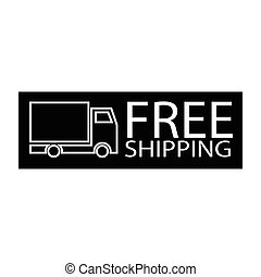 free shipping truck symbol - simple flat black free shipping...