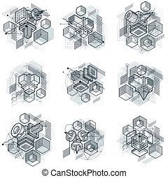 3d abstract vector isometric backgrounds. Layouts of cubes,...