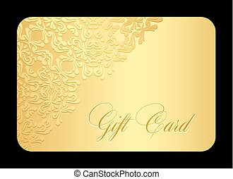 Luxury golden gift card with lace decoration in corner