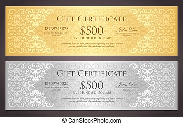 Luxury golden and silver gift voucher with vintage ornament...