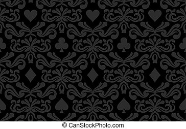 Seamless black background with poker symbols surrounded by...