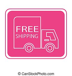 free shipping truck square - simple flat colour free...