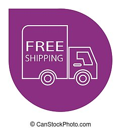 free shipping truck round - simple flat colour free shipping...