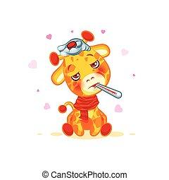 Emoji character cartoon Giraffe sick with thermometer in...
