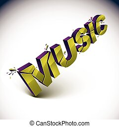 3d music word broken into pieces, demolished vector design elements. Shattered golden art stylish inscription