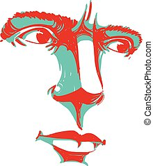 Vector art drawing, portrait of man blaming somebody, this...