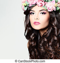 Beautiful Woman with Long Curly Hair, Perfect Makeup and...