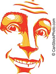 Hand-drawn vector illustration of smiling confident man....