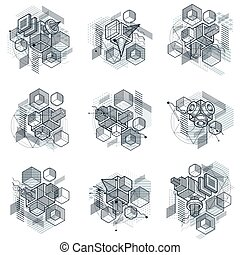 Isometric abstract backgrounds with linear dimensional...