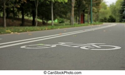 Bicycle sign on the road. Autumn. Close up, zooming slider...