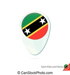 Saint Kitts and Nevis flag location map pin icon on white...