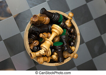 chess on a glass table