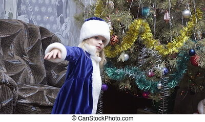 Maiden near Christmas tree - Snow Maiden girl near Christmas...