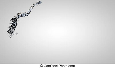 Water flow in slow motion on gray background.
